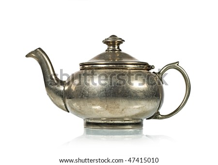 Antique Silver Tea Kettle Isolated on White, reflection - stock photo