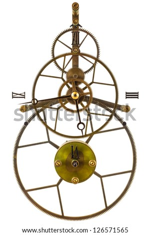 Antique skeleton clock with gear wheels isolated on a white background - stock photo