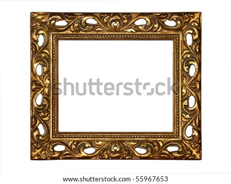 Antique small gold frame with a decorative pattern. - stock photo