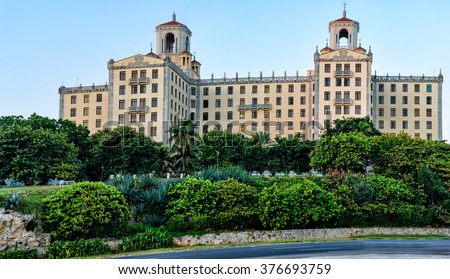 Antique Spanish architecture of Havana, Cuba - stock photo