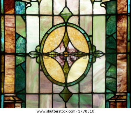 Antique Stained-Glass - stock photo