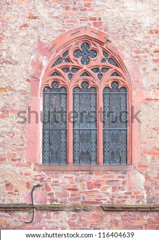 Antique stained glass window at Heidelberg castle, Germany - stock photo