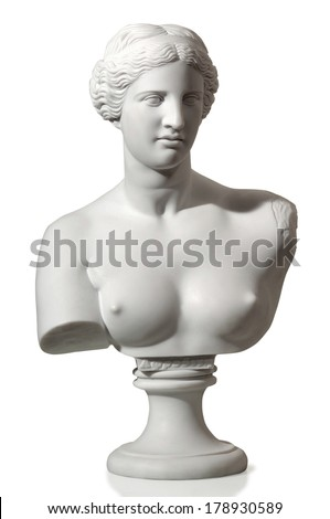 antique statue of a beautiful woman - stock photo