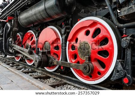 Antique steam train - stock photo
