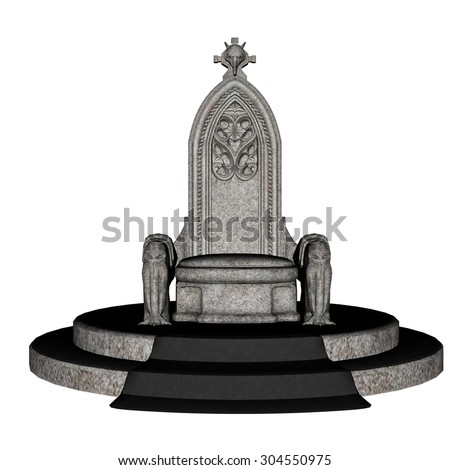 Antique stone throne isolated in white background - 3D render - stock photo