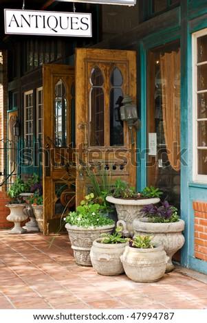 Antique store on Main street in Fredericksburg, Texas - stock photo