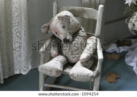 Antique stuffed toy bear - stock photo