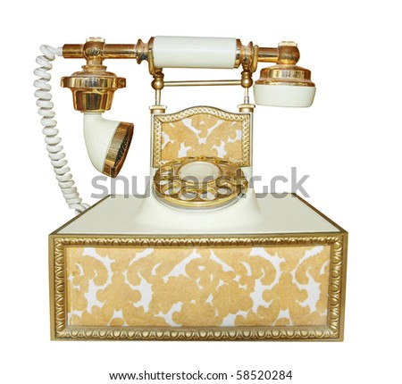 Antique Style Phone isolated with clipping path - stock photo