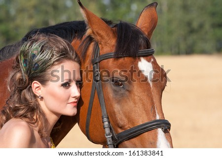Antique style woman with horse