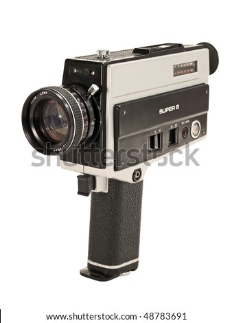 Antique Super 8mm film video camera, isolated. Clipping path is included - stock photo