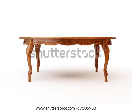 antique table isolated over a white background - stock photo