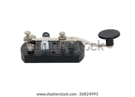 Antique telegraph key used as a communication device for Morse Code - path included - stock photo