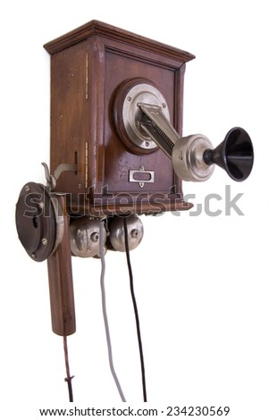 Antique telephone - stock photo