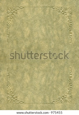 Antique texture with embossed frame elements. Grunge intact. - stock photo