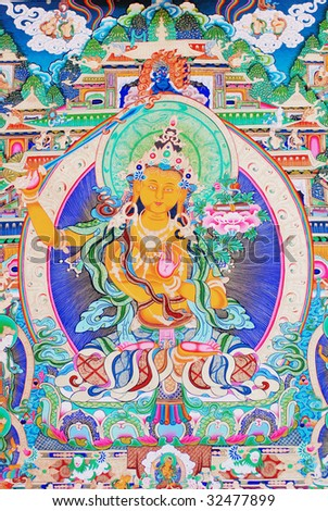 "antique ""Thangka"": is a painted or embroidered Buddhist banner which was hung in a monastery or a family altar and carried by lamas in ceremonial processions."