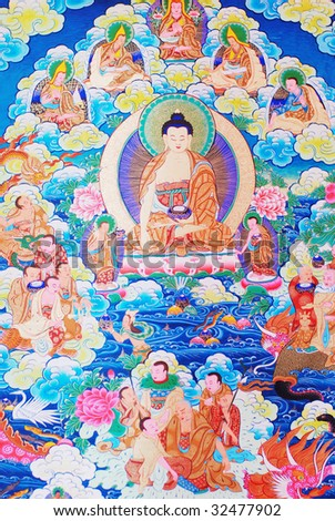 """antique """"Thangka"""": is a painted or embroidered Buddhist banner which was hung in a monastery or a family altar and carried by lamas in ceremonial processions. - stock photo"""