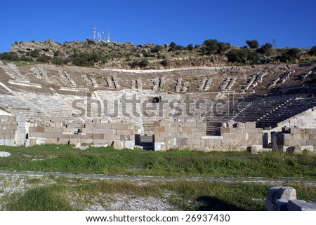 Antique theater ol the slope in Bodrum, Turkey - stock photo