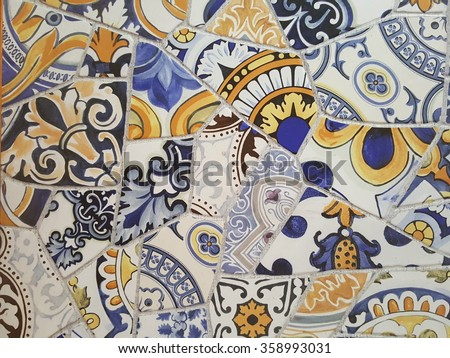 Antique tiles - stock photo