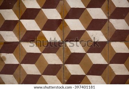 Antique tiles in the Army Museum in Hanoi, Vietnam - stock photo