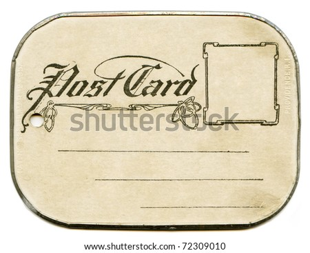 Antique Tin Frame Postcard back - stock photo