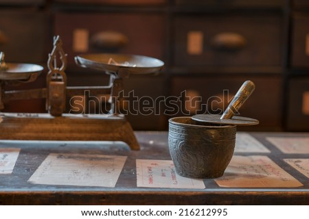 Antique traditional Chinese medicine tool in pharmacy - stock photo