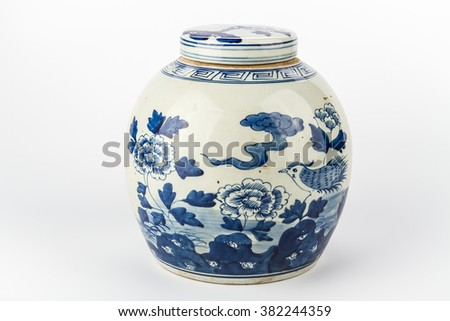 Antique traditional Chinese vase on a white background - stock photo