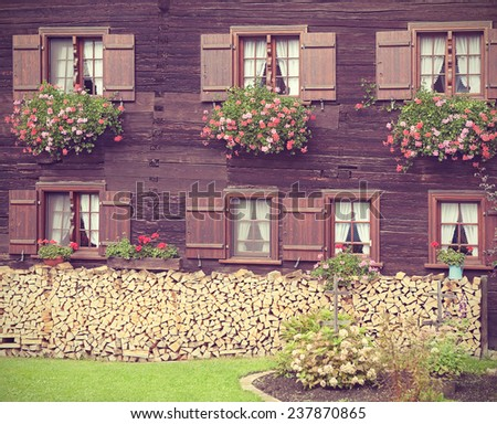 Antique traditional German country house, facade. Filtered toned image in a retro nostalgic style.   - stock photo