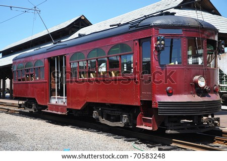 Antique trolley located in the Electric City Trolley Museum, Scranton, Pennsylvania. This is Trolley Car No. 76, built by J.G. Brill in 1926 for the Philadelphia and West Chester Traction Company. - stock photo