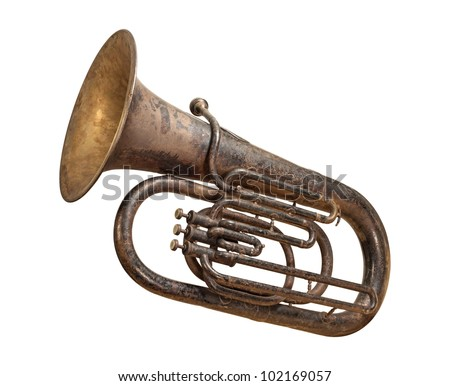Antique Tuba isolated on white with clipping path