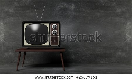 Antique TV set on table with blackboard background. 3D rendering - stock photo