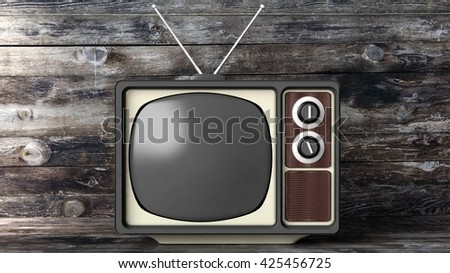 Antique TV set with black screen, wooden background. 3D rendering - stock photo