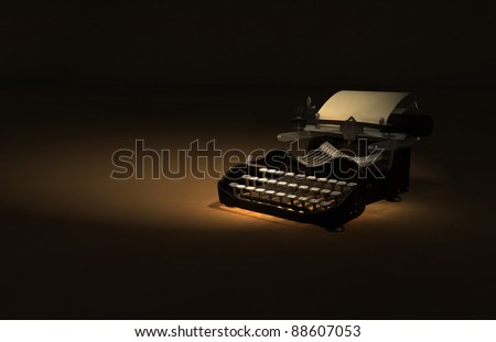 Antique Typewriter 3D Illustration - stock photo