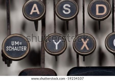 antique typewriter details - stock photo