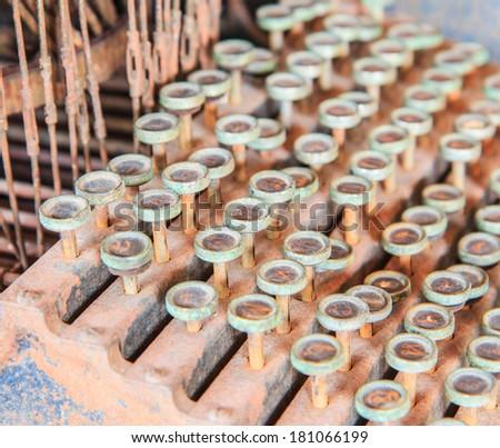 Antique typewriter or old printers strike - stock photo
