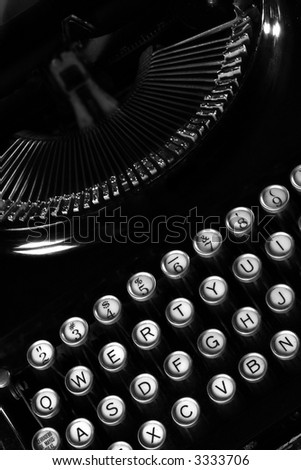 antique typewriter view from above, black and white - stock photo