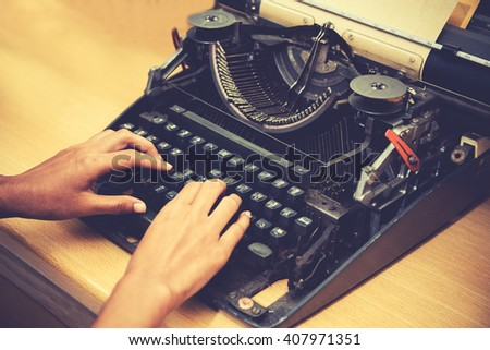 Antique Typewriter,Vintage concept - stock photo