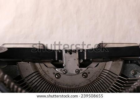 Antique Typewriter. Vintage Typewriter Machine close-up - stock photo