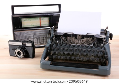 Antique Typewriter. Vintage Typewriter Machine on table