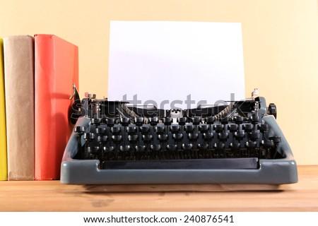 Antique Typewriter. Vintage Typewriter Machine on table - stock photo