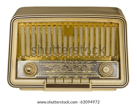 Antique very old vintage radio on white background. - stock photo