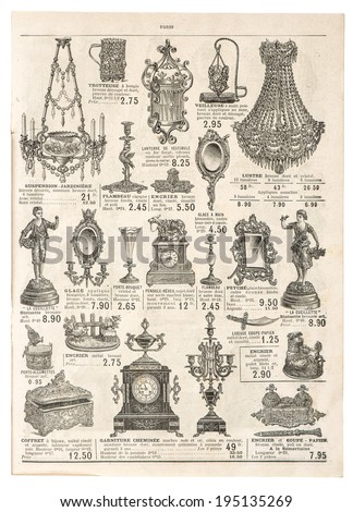 antique victorian objects and collectibles. retro shop advertising, page of very popular shopping catalog Samaritaine, Paris, France, circa 1897 - stock photo