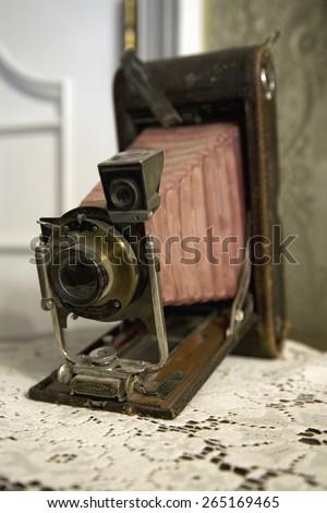 Antique view camera in Redstone Castle, in Redstone Colorado, off Colorado's West Elk Loop Scenic Byway - stock photo