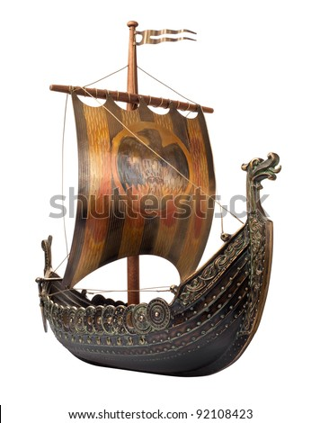 Antique Viking Ship Model isolated on white - stock photo