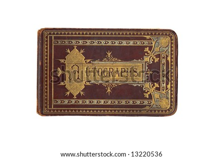 Antique Vintage Autograph Book with Grunge Left Intact Horizontal - stock photo