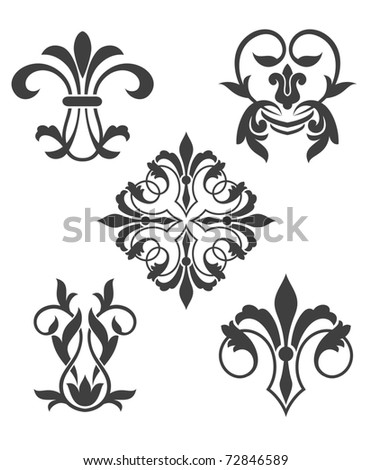 Antique vintage floral patterns isolated on white. Vector version also available in gallery - stock photo