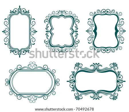 Antique vintage frames isolated on white for design. Vector version also available in gallery - stock photo