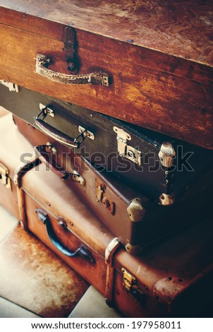 Antique Vintage Handles and Locks on an Trunks in a Stack, Toned Picture - stock photo