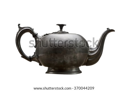 Antique vintage teapot isolated on white
