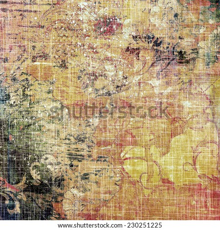 Antique vintage textured background. With different color patterns: purple (violet); orange; brown; yellow