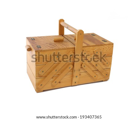 antique vintage wooden sewing box isolated on white background - stock photo